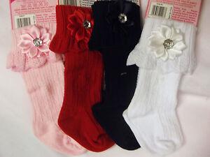 DREAM BABY GIRLS BLING FLOWER KNEE HIGH SOCKS VARIOUS COLOUR 0-18 MONTHS