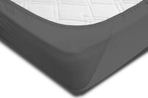 2 Spannbettlaken 140-160 x 220 cm anthrazit Elasthan Wasser Boxspringbett Set