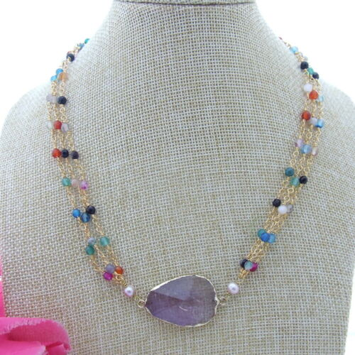 """S061912 18/"""" 3 Strans 2MM Mixed Color Agate Necklace  Amethyst Pendant"""
