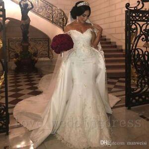 0bad978766 Image is loading Arabic-Lace-Mermaid-Wedding-Dress-Detachable-Train-Off-