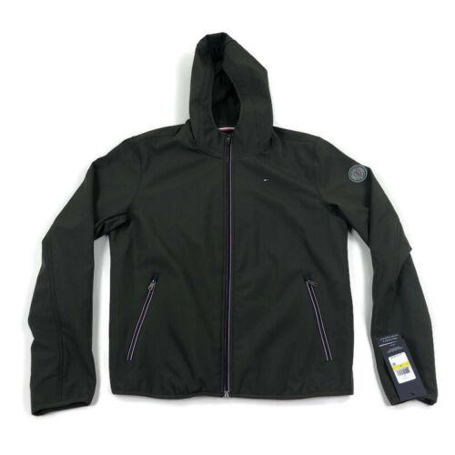 Tommy Hilfiger Mens Soft Shell Jacket Hood Full Zip Olive Green Sz Medium