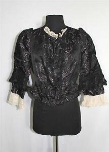 EXCEPTIONAL-SIZE-38-FRENCH-VICTORIAN-PINK-amp-BLACK-SILK-SATIN-BODICE-LACE-TRIM