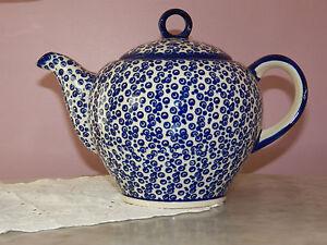 Beautiful Artisan Polish Pottery Large Teapot! Lawrence Welk Pattern!