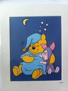 Disney-Winnie-The-Pooh-amp-Piglet-Bedtime-Hand-Drawn-amp-Hand-Painted-Cel