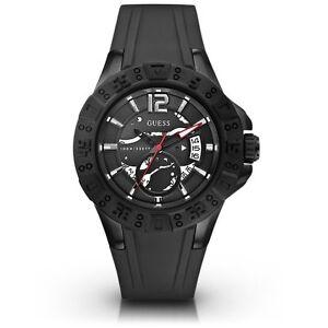 Uhren & Schmuck Armband- & Taschenuhren Guess U0034g3 Einzigartig Schwarz Silikon Sportarmband Ziffernblatt Chronograph Dauerhafte Modellierung