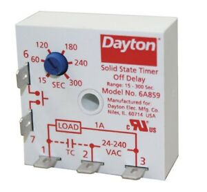 DAYTON-6A859-Encapsulated-Timer-Relay-300sec-5Pin-1NO-1A-Contact-Amp-Rating