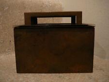 S25 antique bradley hubbard brass cigarette desk case wood liner match holder