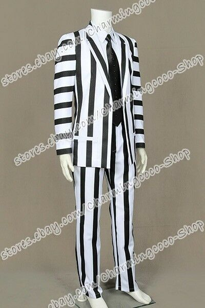 Cosplay Adult Beetlejuice Costume Michael Keaton Black/&White Blazer Suit Outfit