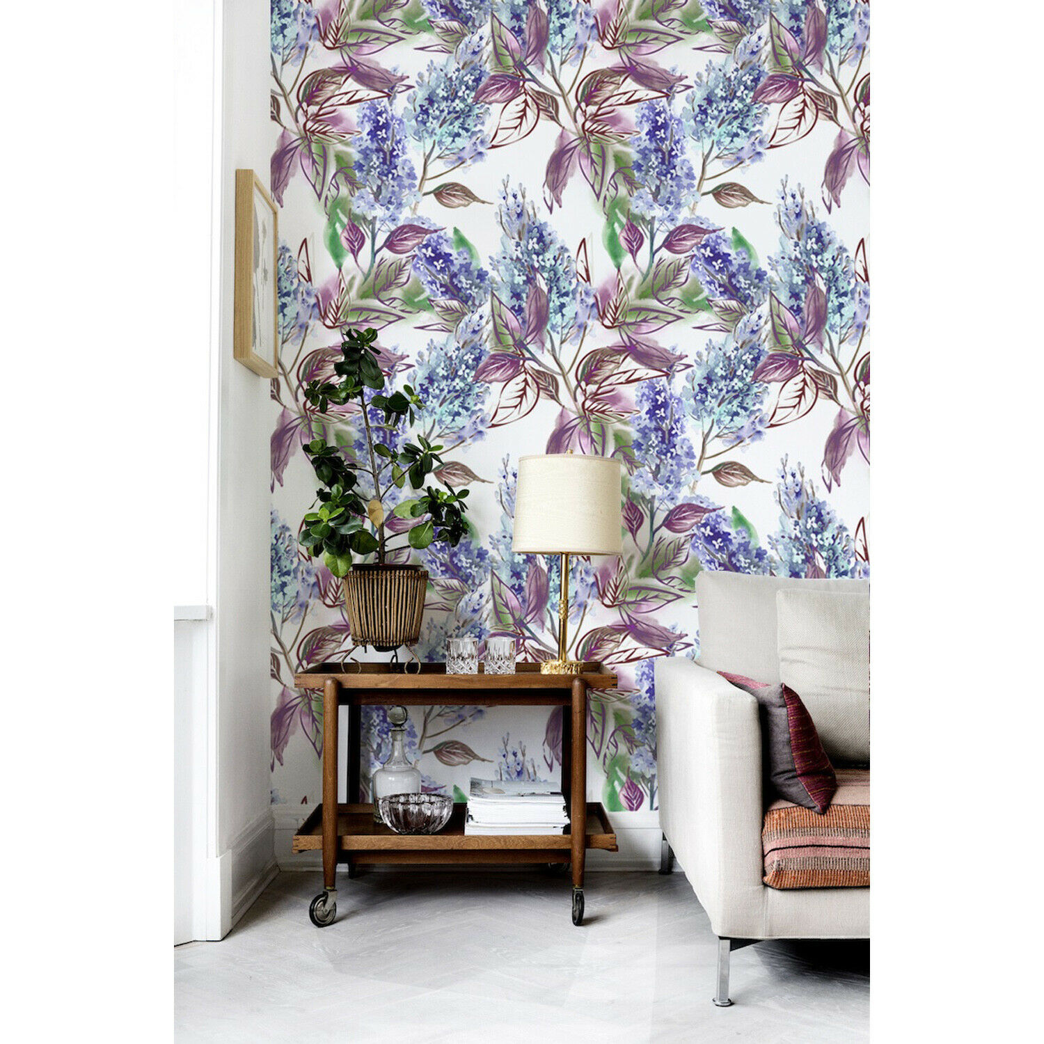 Lilac WaterFarbe Non-woven wallpaper lila Flowers i Illustration Wall Mural
