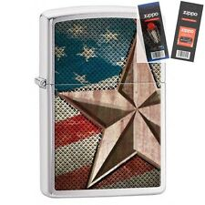 Zippo 28653 retro star and flag Lighter with *FLINT & WICK GIFT SET*