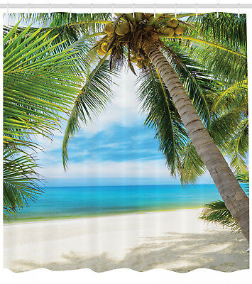 Ocean Decor Shade of a Coconut Palm Tree Sand View Picture Fabric Shower Curtain