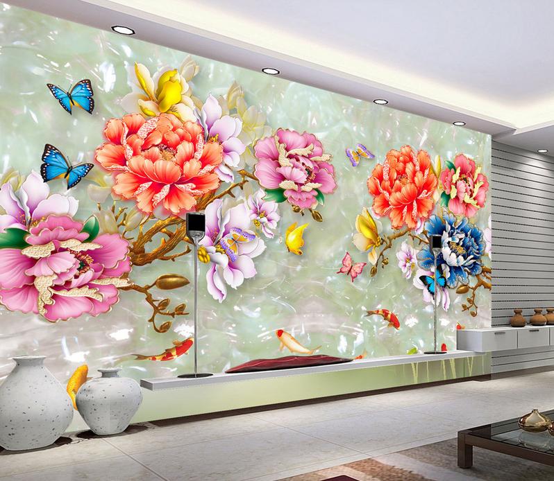 3D Blumen Jademuster 577 Tapete Tapeten Mauer Foto Familie Tapete Wandgemälde DE