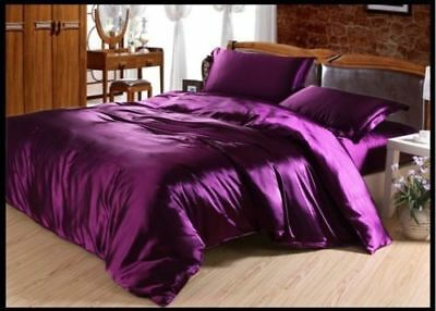 LUXURY HOTEL COLLECTION VIOLET PURPLE SATIN SILK ALL USA BEDDING ITEMS ALL SIZES