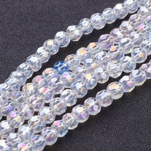 8 mm. F12 AB Plaqué Clair /& à Facettes Ronde Perles en verre 4 mm 6 mm