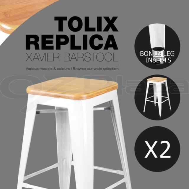 2 x Tolix Replica Xavier Bar Stool Metal Steel Chair Bamboo Seat 66cm WHITE