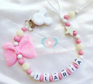 Minnie-Catenella-portaciuccio-succhiotto-personalizzata-nome-Bimbo-Bimba-regalo