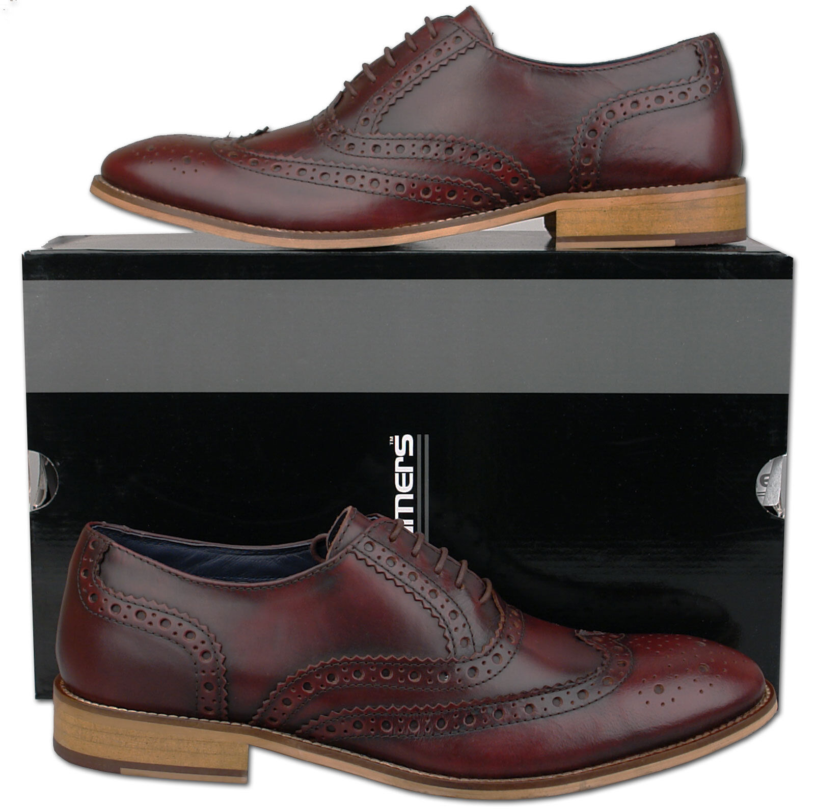 Mens New Burnished Oxblood Leather Formal Brogues shoes Sizes 6 7 8 9 10 11 12