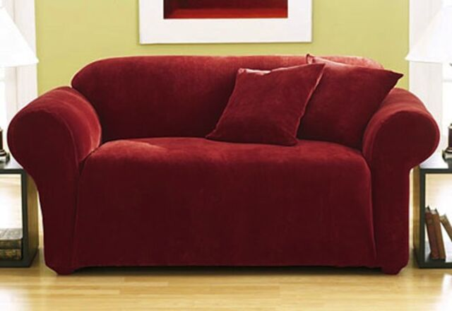 Sure Fit Sofa Slipcover Stretch Pique in Garnet Box Style Seat Cushion 1 Piece