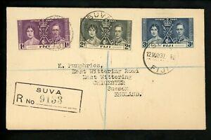 Postal-History-Fiji-114-116-Registered-FDC-King-George-VI-Coronation-1937-Suva