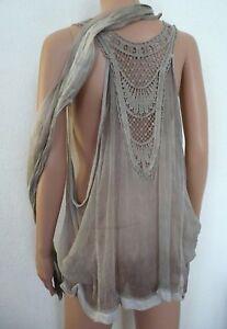tunique-en-Soie-Taille-M-L-XL-38-40-42-44-46-48-Haut-amp-foulard-boheme-Femme
