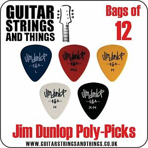 Jim Dunlop POLYPICKS Plectrums  Bags of 12 Picks  ALL GAUGES - <span itemprop=availableAtOrFrom>Welwyn Garden City, Hertfordshire, United Kingdom</span> - Return items must be returned in the original packaging including all inserts, protective materials and all items included in the shipped unopened packet/box. Th - Welwyn Garden City, Hertfordshire, United Kingdom