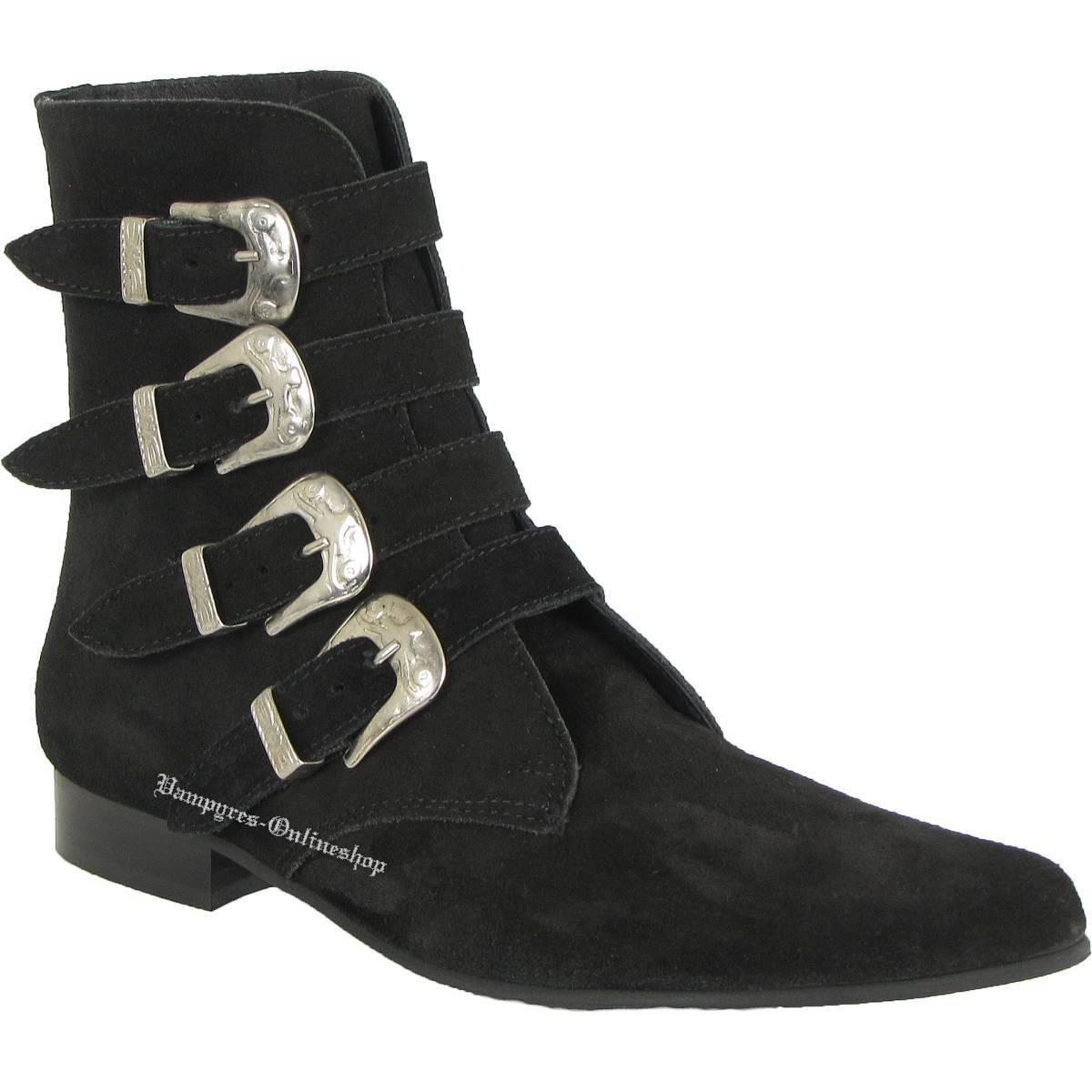 botas & Braces 4 hebillas de gamuza botas negro negro negro winkelpiker Pikes and negro  Venta en línea precio bajo descuento