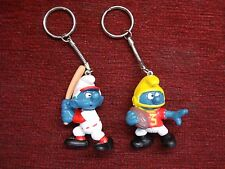 1980's 2 DIFF. SPORTY SMURF BASEBALL & FOOTBALL  KEY CHAINS - NEW & UNDAMAGED