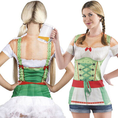 Photorealistic Oktoberfest Ladies Bavarian Fancy Dress German Shirt Costume New