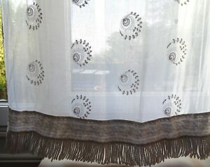 Embroidery Antiques Pair Antique French Tambour Lace Curtains Shabby Chic 98.5 X 31.5 Ins