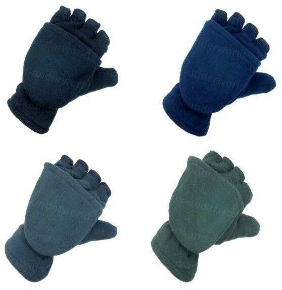 Fingerless Capped Gloves Mens Fleece Thermal Insulation Mitten Combo Winter Warm
