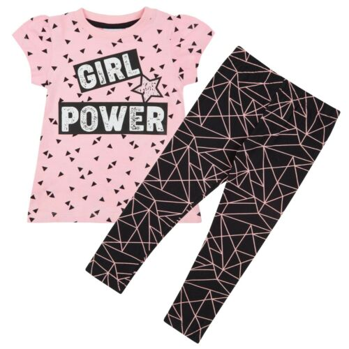 Girls Outfit Leggings A Line T Shirt Dress Top Girl Power Geometrical Style