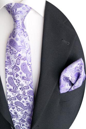 Paisley Muster Kt 45.10 Handgefertigte Luxus Seide Krawatte mit Einstecktuch