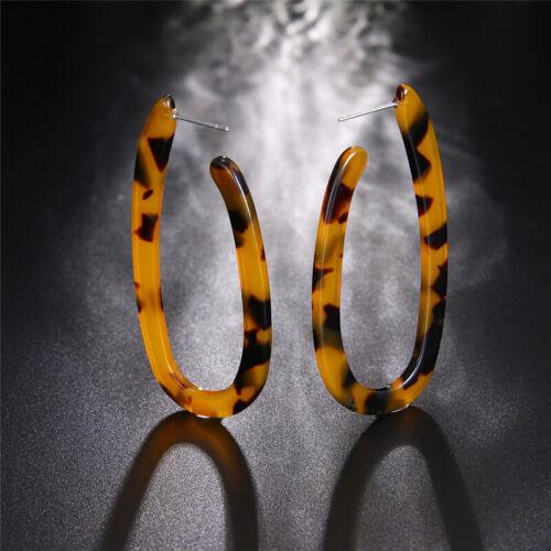 1 Pair Women Acrylic Big U Shape Hoop Dangle Resin Earrings Fashion Jewelry