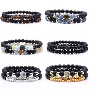 2pcs-Reiki-Natural-Stone-Balance-Beads-Bracelets-Bangle-Womens-Men-039-s-Jewellery