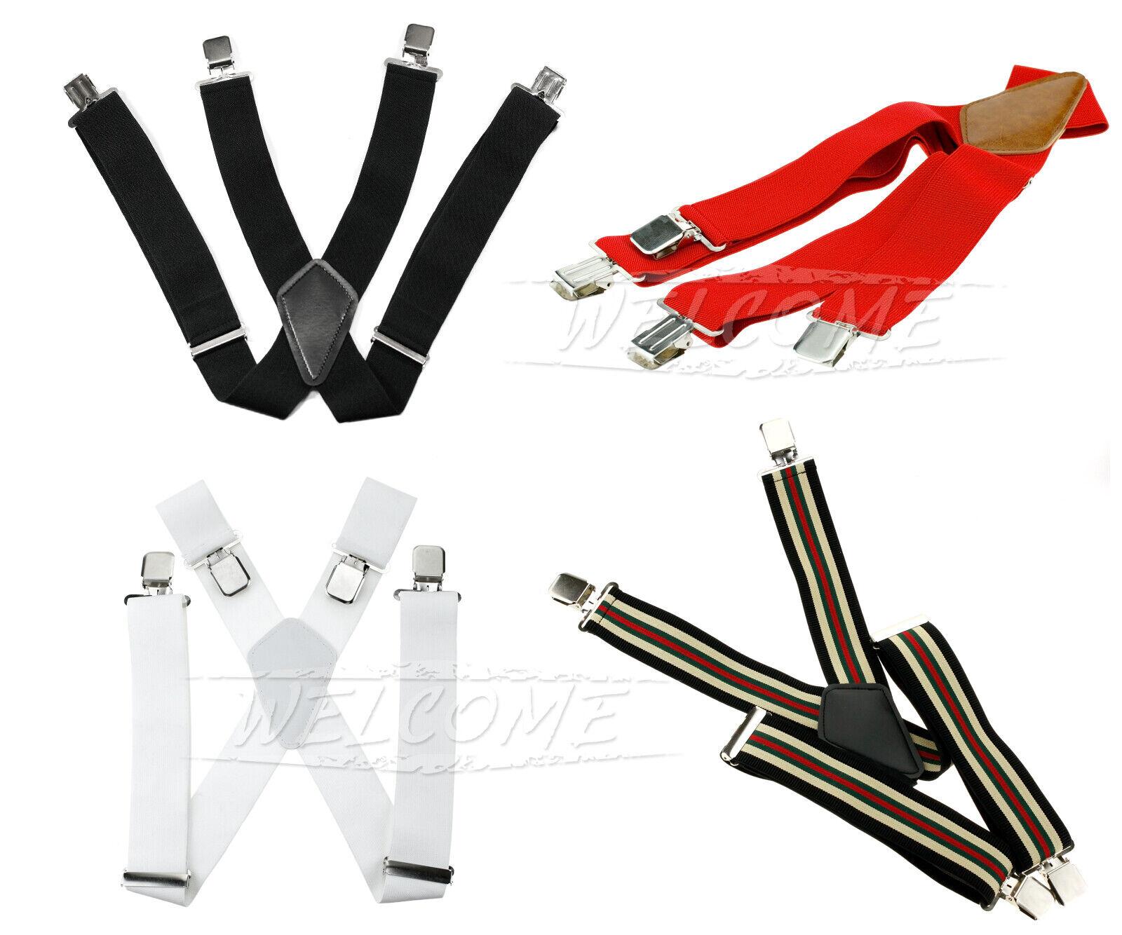 2' X shape Mens Wide Braces Plain Heavy Duty Suspender Elastic Adjustable