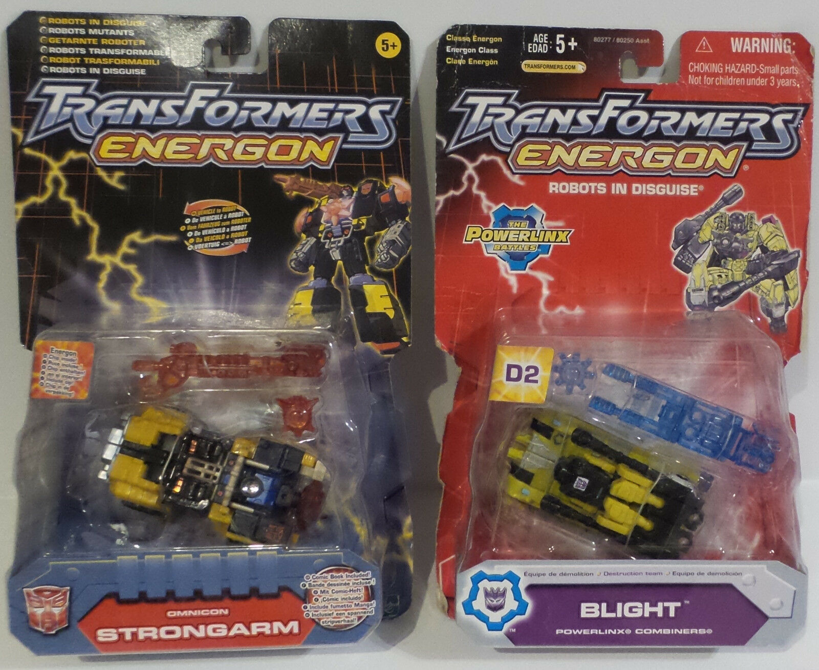 TRANSFORMERS   ENERGON STRONGARM & BLIGHT CARDED MODELS