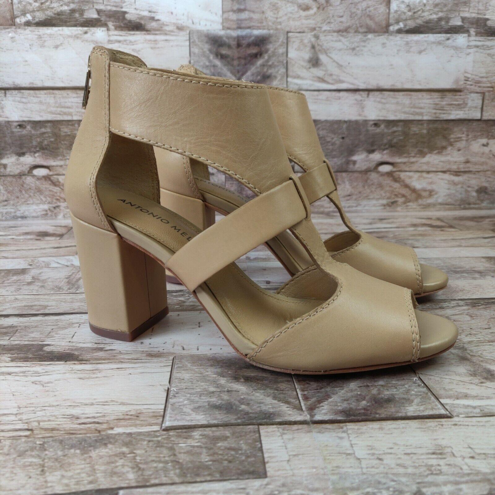 Antonio Melani Size 5.5M Tan Leather Caged High Heel Sandals Shoes Zipper