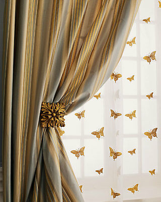 Gold Butterfly On Sheer Faux Silk Organza Curtains Pair Unlined Ebay