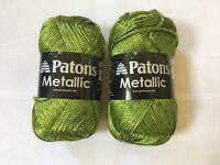 Patons Metallic Yarn Grass Green 2 Skeins - 3 Oz. 252 Yards Us 8 Knitting