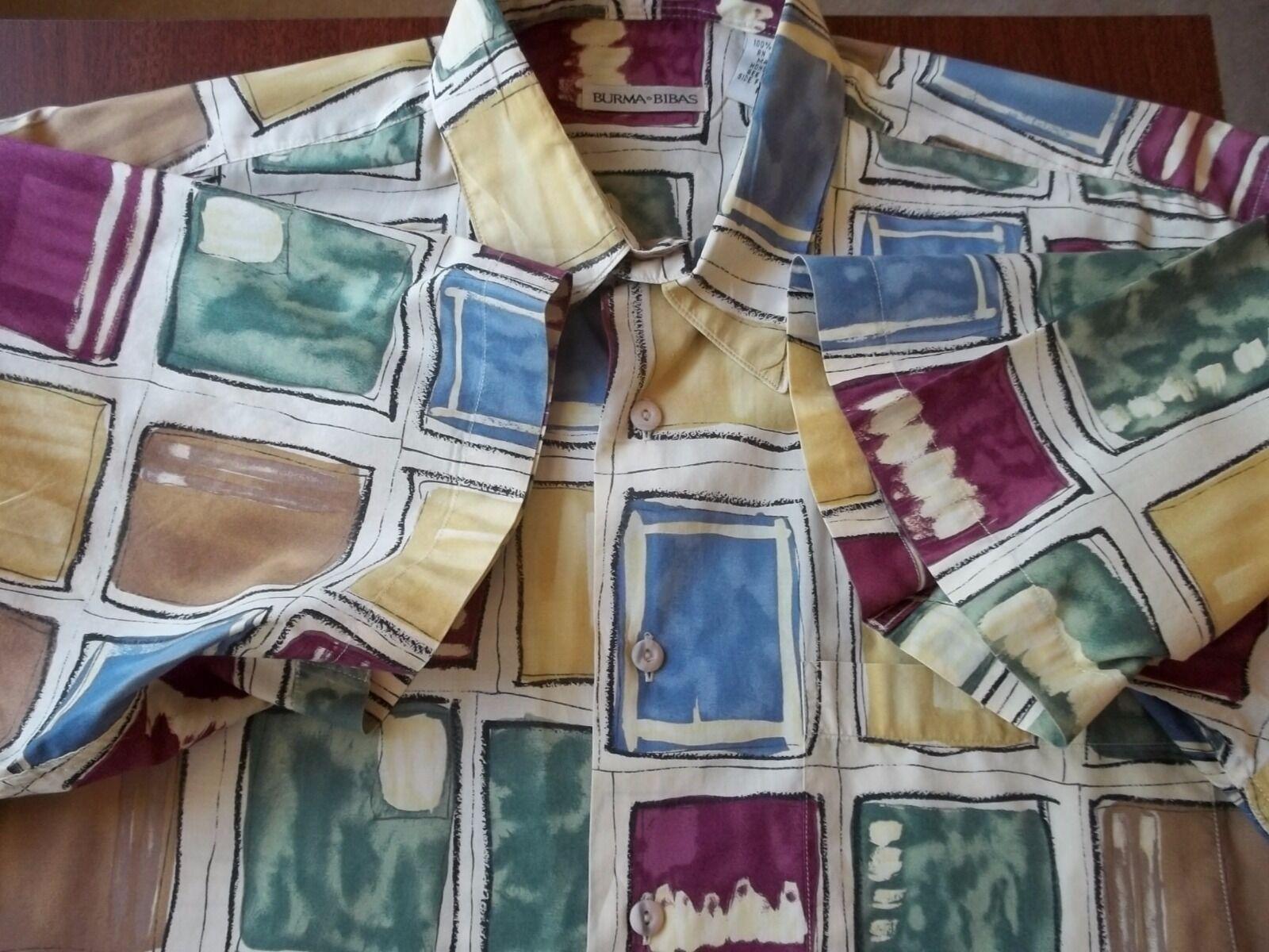 Burma Bibas M casual 100% soft cotton short sleeve button front multi-color