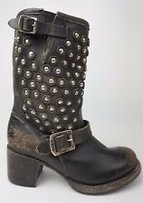 Frye Vera Disc Stud Short Black Leather Motorcycle Boots Women's Size 6 B.