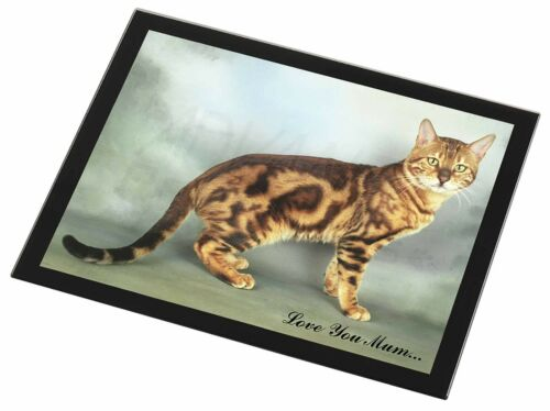 Bengal Gold Cat 'Love You Mum' Black Rim Glass Placemat Animal Table, AC89lymGP