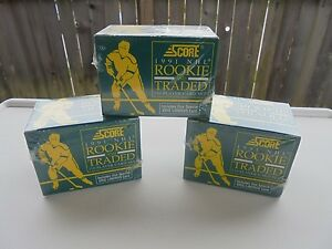3-SCORE-1991-NHL-ROOKIE-AND-TRADED-110-PLAYER-CARD-SETS-FACTORY-SEALED-LINDROS