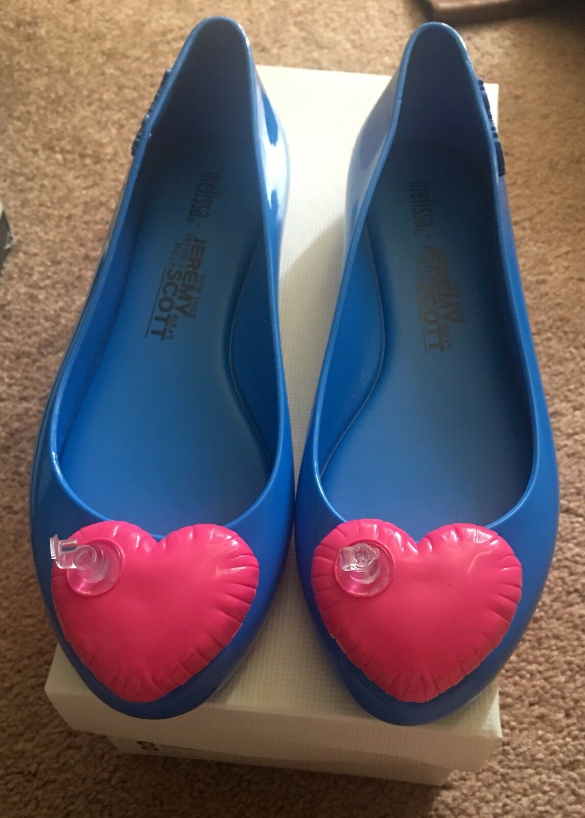 Melissa X Jeremy Scott Blue w/ Heart Shoes Flats size 8
