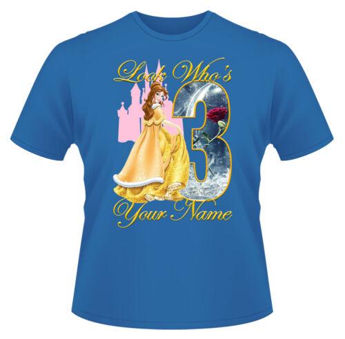 Belle princesse Disney personnalisé filles T-Shirt 3 ans cadeau//cadeau idéal