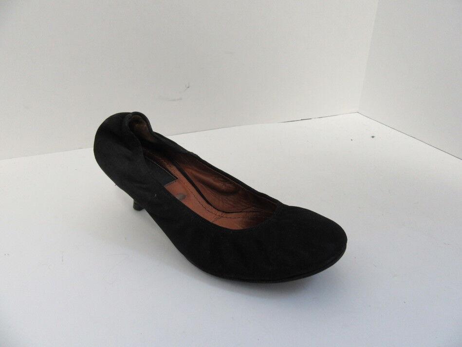 LANVIN BLACK SUEDE  KITTEN HEEL BALLET PUMPS 39 39 39 ad9e92