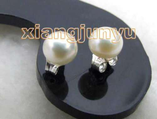 5-6mm Natural White Freshwater Flat Round Pearl Earrings for Women Silver Stud