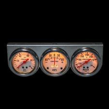 2 52mm Led Triple 3 Gauge Kit Tachometer Water Temp Oil Press Gauge Meter