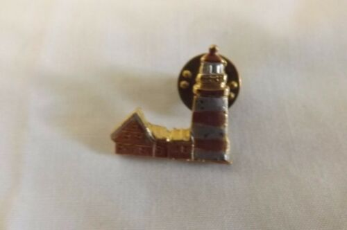 Tri Color Light House Collectible Lapel Collar Tie Tac Tack Hat Pin Swap