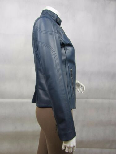 Ladies Tight Napa Bike Blue Short Leather Slim Jacket Fitted Biker qOS1wrqx